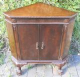 Chippendale Style Mahogany Standing Low Corner Cupboard